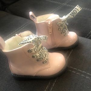 Pink patent leather baby boots